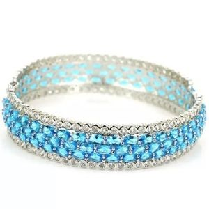 Jewelry - Sterling Silver925 Swiss Blue Topaz & CZ Bracelet.